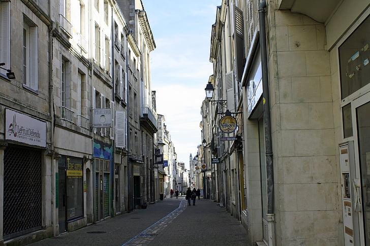 carrer de la ciutat, carrer estret, carrer França, edificis antics, carrer de botigues, botigues de França, francès comercial