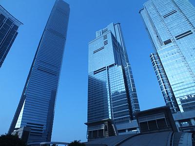 bangunan, modern, arsitektur, pagi, Hong kong