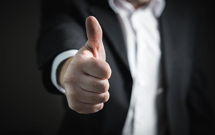 uzņēmējs, īkšķiem uz augšu, panākumi, roka, uzņēmējdarbības, vīrietis, dodot