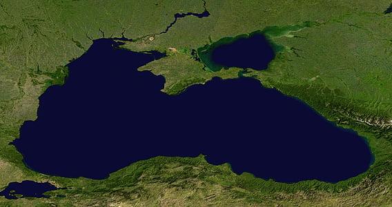 mer Noire, mer, vue aérienne, Terre, carte, Atlas, image satellite