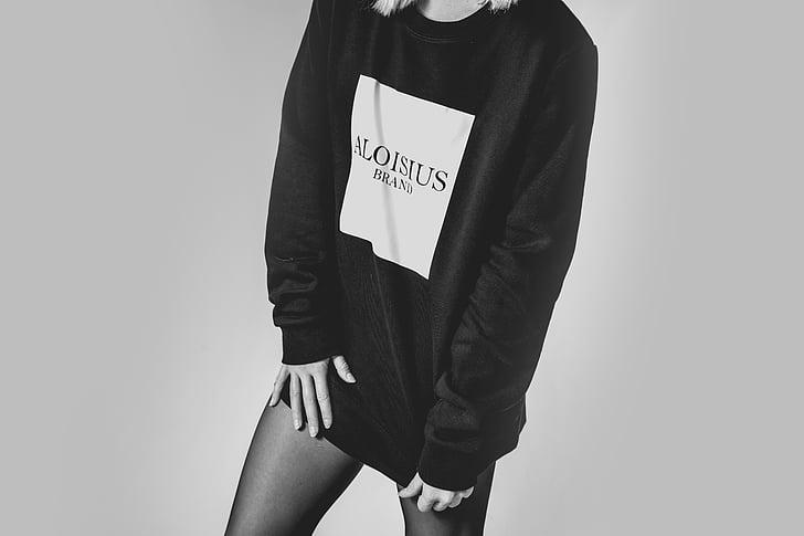en blanc i negre, moda, femella, model de, persona, atractiu, desgast
