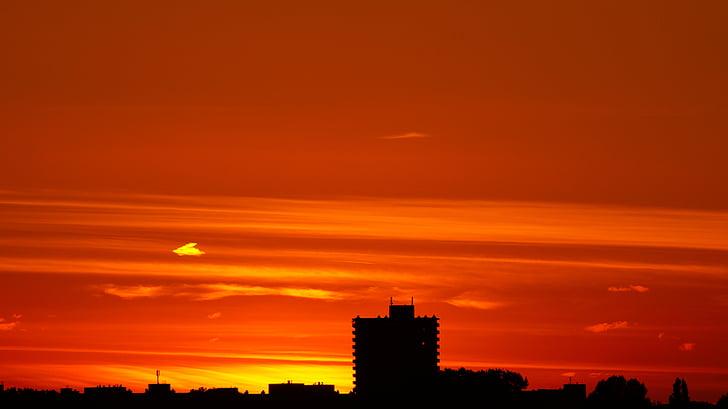 byggnad, staden, Dawn, skymning, Utomhus, siluett, Sky