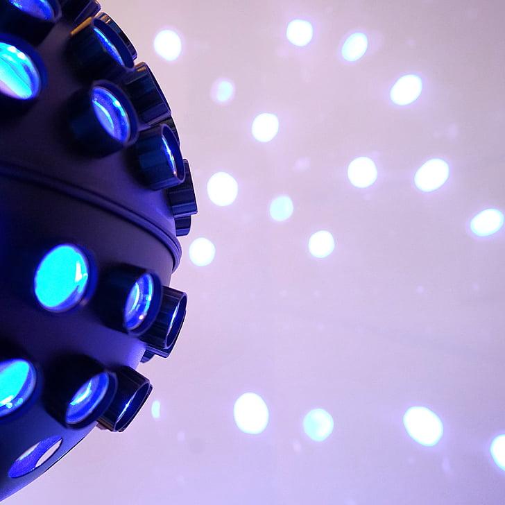 il·luminació, DJ, discoteca, taques, va portar, blau, projecció