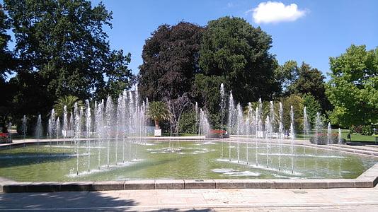 Park, suihkulähde, vesi, Luonto