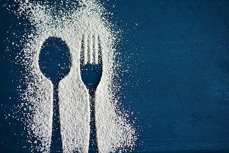 숟가락, 포크, 칼 붙이, 착 빙 설탕, 실루엣, 먹으십시오, 초대