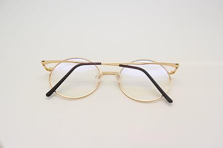 ulleres, teràpia xamba-Àngel, gots de vidre, d'or, trencat, ulleres, vista