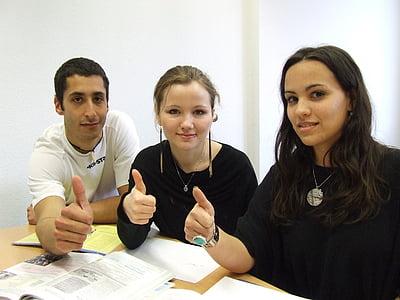 language school, team, interns, people, women, indoors, females
