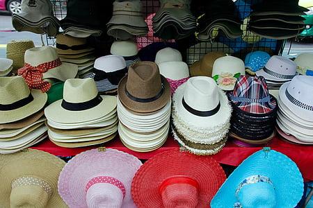 barret, gorra, mercat, original, roba, venda, barret de palla