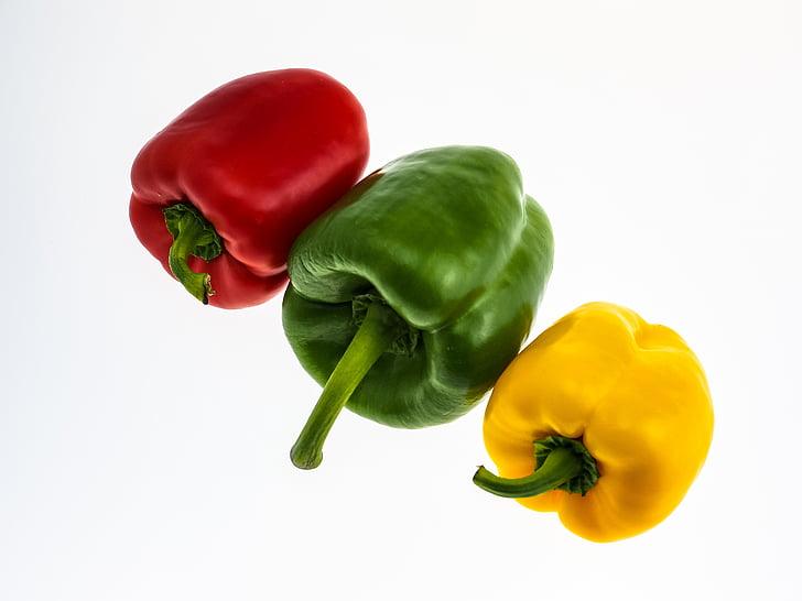 paprike, povrće, crvena paprika, hrana, zelena, zelena paprika, žuta