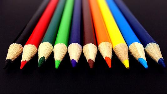 llapis, colors, Arc de Sant Martí, l'escola, subministrament, llapis, múltiples colors