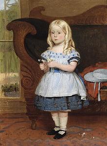 monogrammist เป็น, สาว, เด็ก, แนวตั้ง, ภาพวาด, สีน้ำมันบนผ้าใบ, ศิลปะ