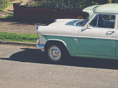 vintage, car, travel, road, street, sunny, day