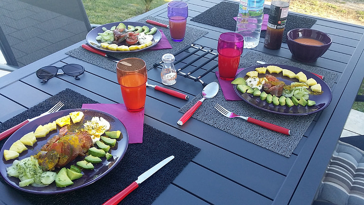 taula, coberts, àpats, placa, sopar