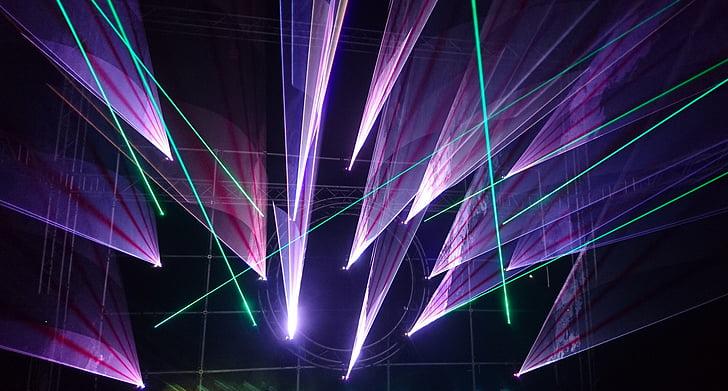 lysshow, laser, musikk, festivalen, Laseren viser, Disco, partiet