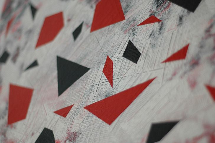 tapyba, raudona, Juoda, tekstūros, apdaila, Akrilo, geometrinis