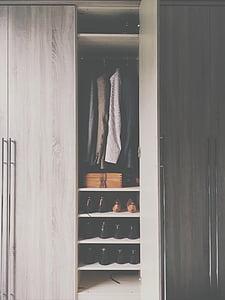 brown, wooden, cabinet, wardrobe, closet, door, open