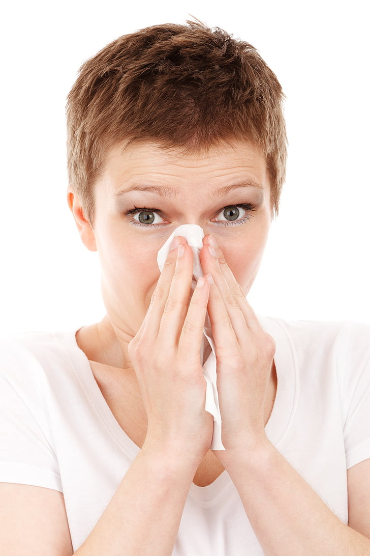 al·lèrgia, fred, mocador, malalt, model de, nas, persona