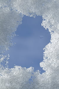 snow, ice, frame, peephole, sky, winter, frost