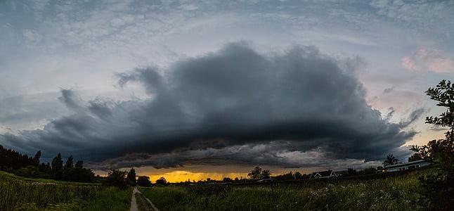クラウド, 雨, サンセット, 嵐, 雲, デンマーク, 風景