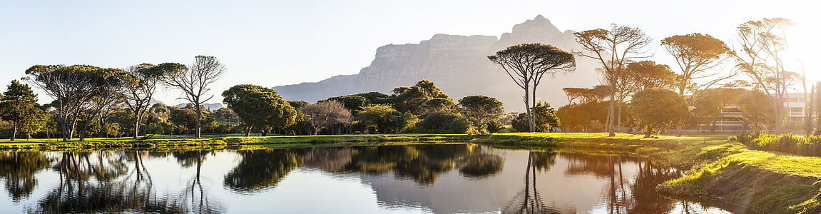 panorama, cape town, golf course, pond, reflection, sunset, devils peak