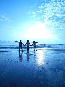 platja, nens, vacances, diversió, persones, família a la platja, vacances en família