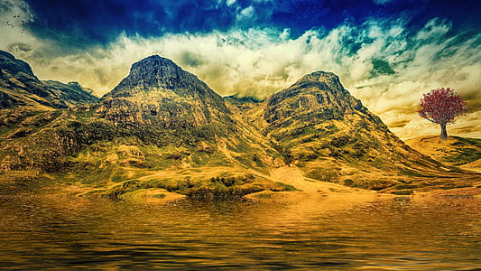mountains, sky, water, fantasy, nature, mystical, background