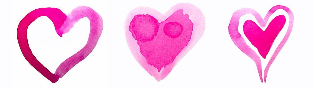 srce, akvarel, akvarel, Crveni, roza, Valentinovo, Valentinovo
