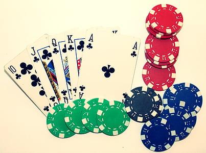 póker, kaszinó, Royal Flush-t, kártyajáték, győztes, Texas hold'em, zseton