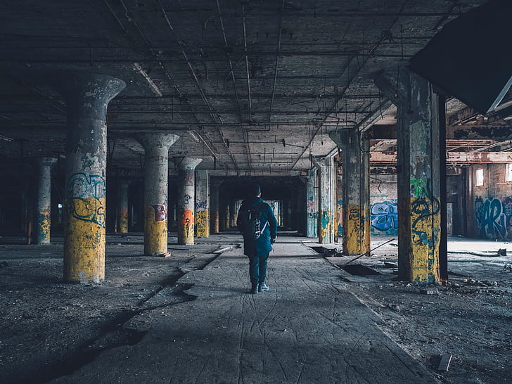 városi hanyatlás, grafiti, elhagyott, graffiti, condemened, tresspass, spray festék