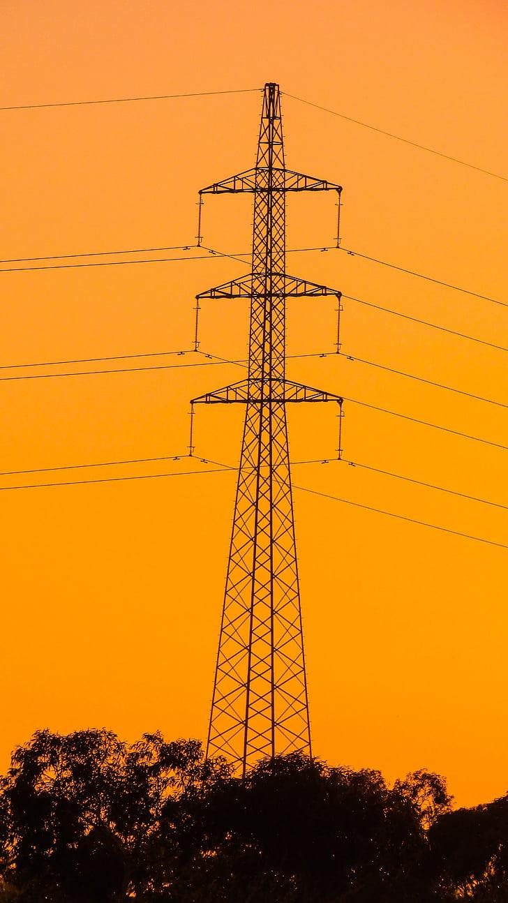 kõrgepinge, torn, elektrienergia, Tower, Sunset, võimsus, energia