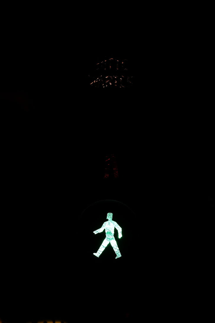 traffic lights, footbridge, green, go, traffic signal, males, little green man