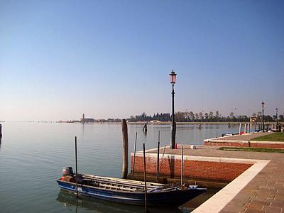 Burano, Velence, boot, Port, rögzítési, Olaszország, sétány