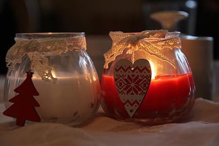 stearinlys, Romance, Candlelight, abendstimmung, romantisk, rød, hvid