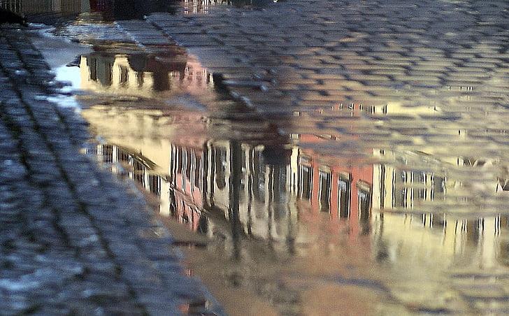 Atspindžiai, to, vandens, stovinčiame vandenyje, šilumos, purškimo, baseinas