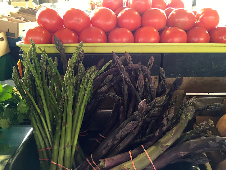 farmers market, asparagus, tomatoes, food, fresh, market, organic