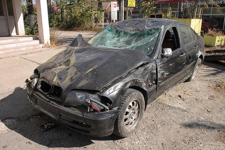 õnnetuse, BMW, auto, purustatud, Road, Liiklus, toimetus