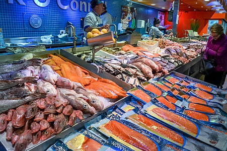 fish market, fish, market, food, seafood, fresh, healthy