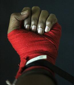 mà, boxa, boxejador, cinta, dits, lluita, combat