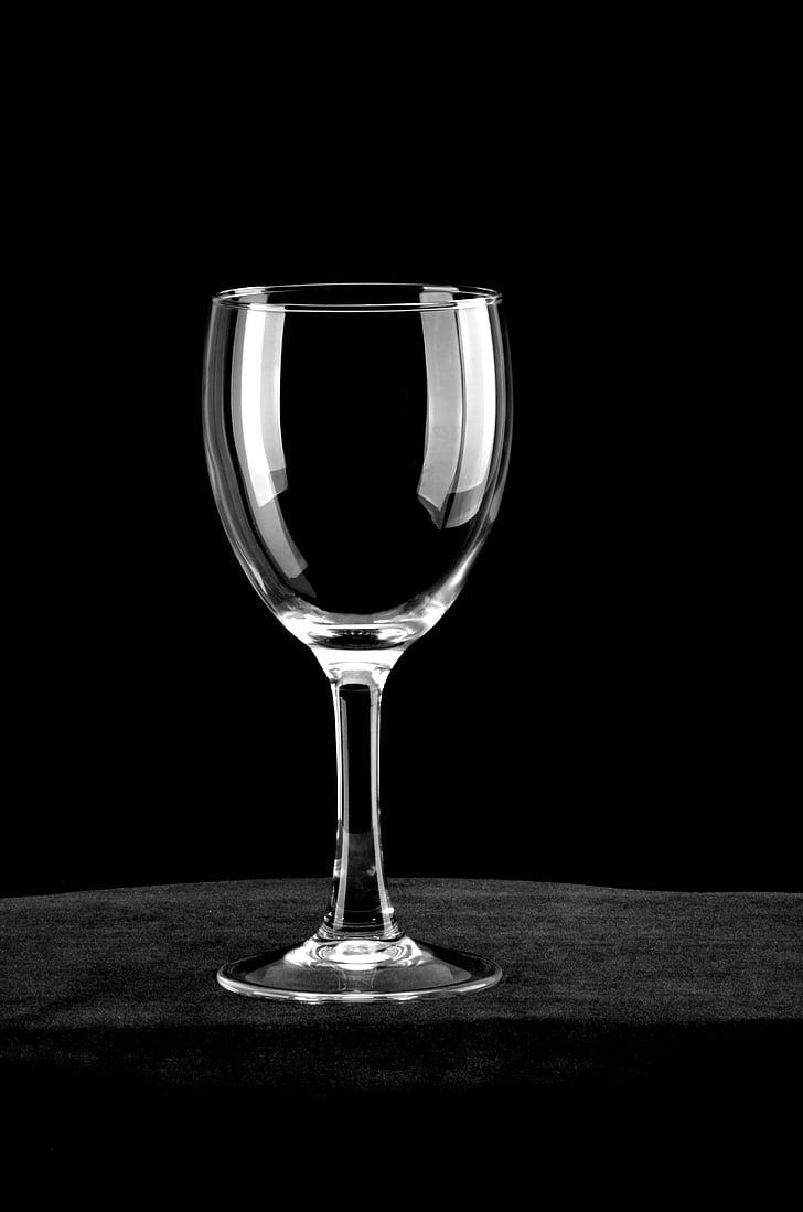 vidre, ratlles blanques, calze, Copa de vi negre, Wineglass, got d'aigua, fons negre