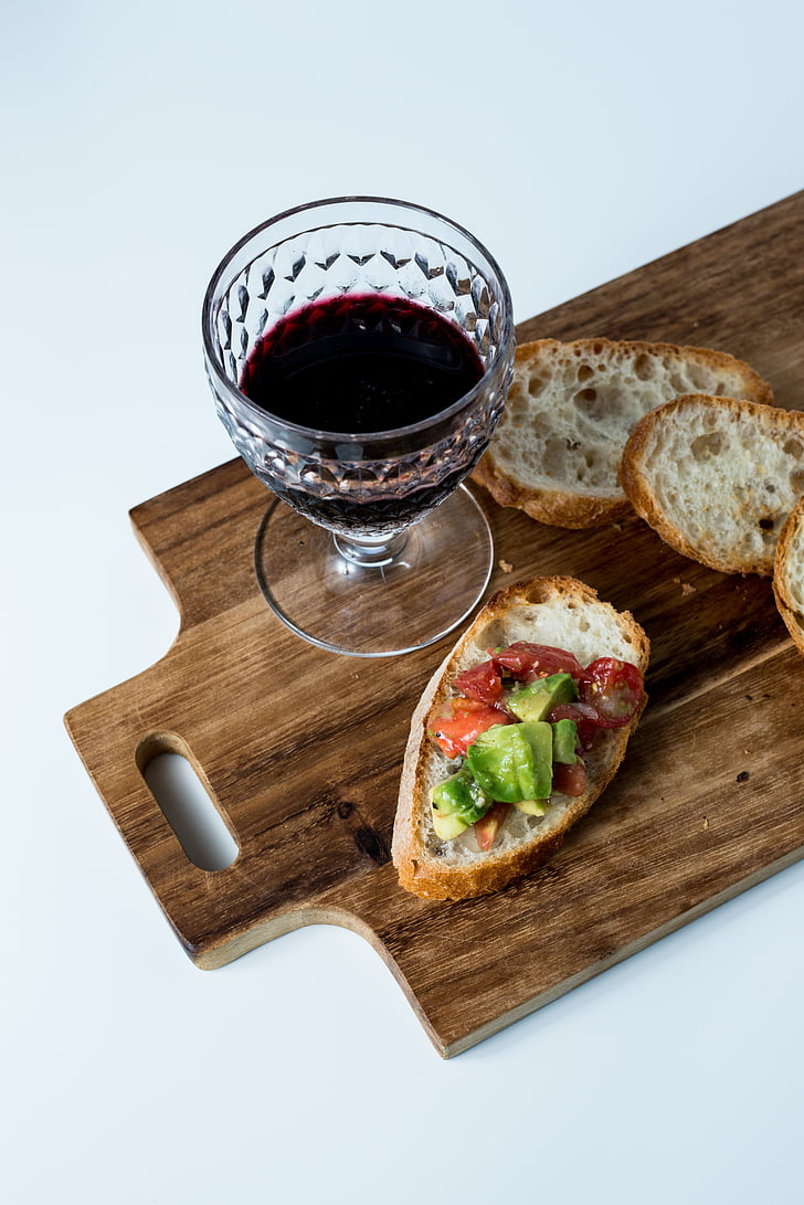 jedzenie, kuchnia, chleb, wino