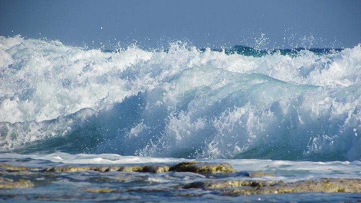 val, koji razbija, more, plaža, priroda, sprej, pjena