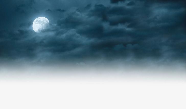 moon, sky, night, cloudy, moonlight, full, astronomy