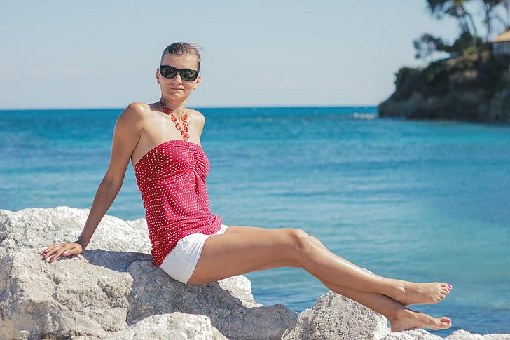 l'estiu, Grècia, Mar, vacances, blau, dona jove, pantalons curts