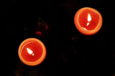Advent, stearinlys, lys, meditative, jul, flamme, orange