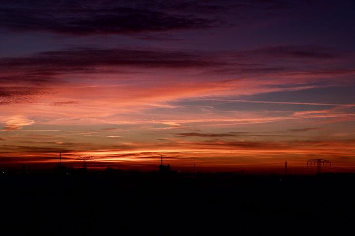 небо, красный, приятное воспоминание, Закат, Вечер, вечернее небо, Сумерки