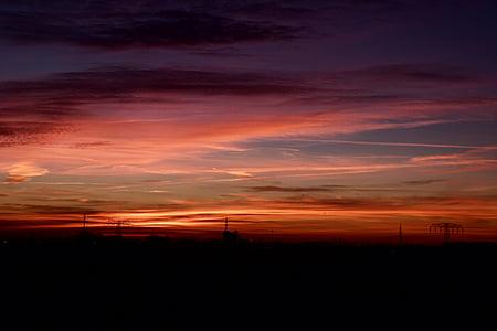 debesis, sarkana, vakara blāzma, saulriets, vakarā, vakara debesis, krēslas