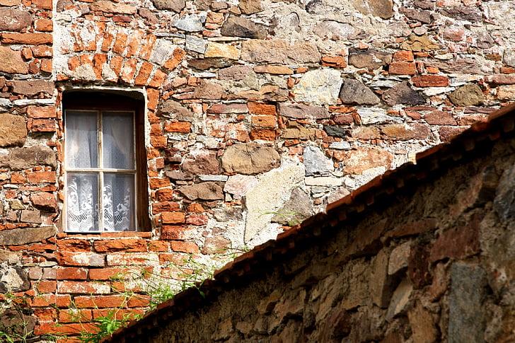 nhà cổ, cửa sổ, tường cũ, gạch, cũ, xây dựng