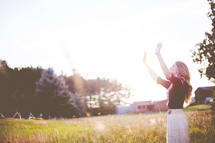 woman, standing, field, wearing, black, elbow, sleeve