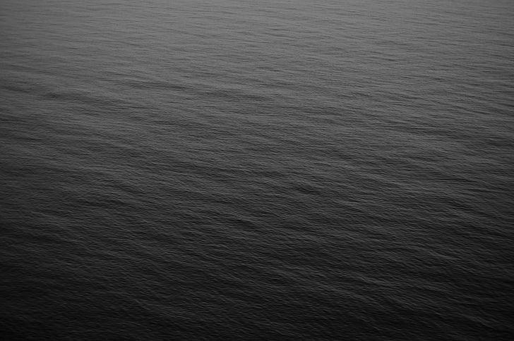 океан, вода, Черно и бяло, фон, Черно, сив, море