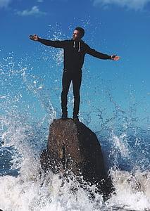 guy, man, wave, water, splash, rock, formation
